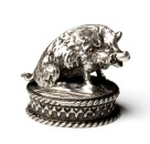 Silverplated mounting WILD BOAR SITTING
